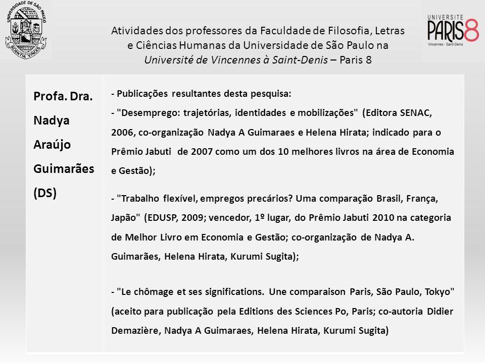 Profa. Dra. Nadya Araújo Guimarães (DS) - Publicações resultantes desta pesquisa: -