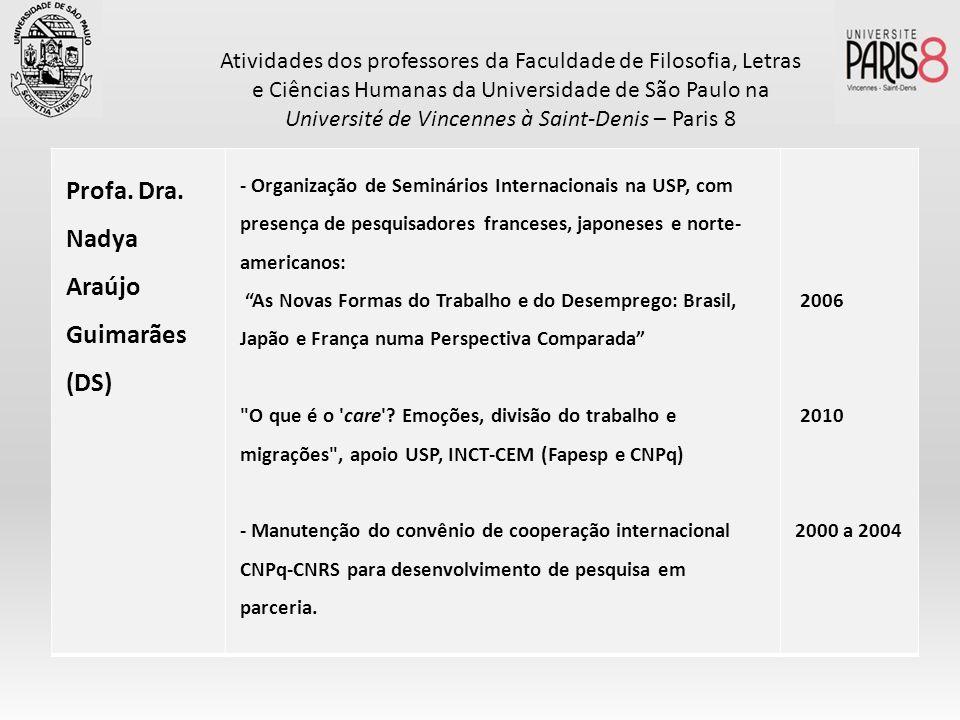 Profa. Dra. Nadya Araújo Guimarães (DS) - Organização de Seminários Internacionais na USP, com presença de pesquisadores franceses, japoneses e norte-