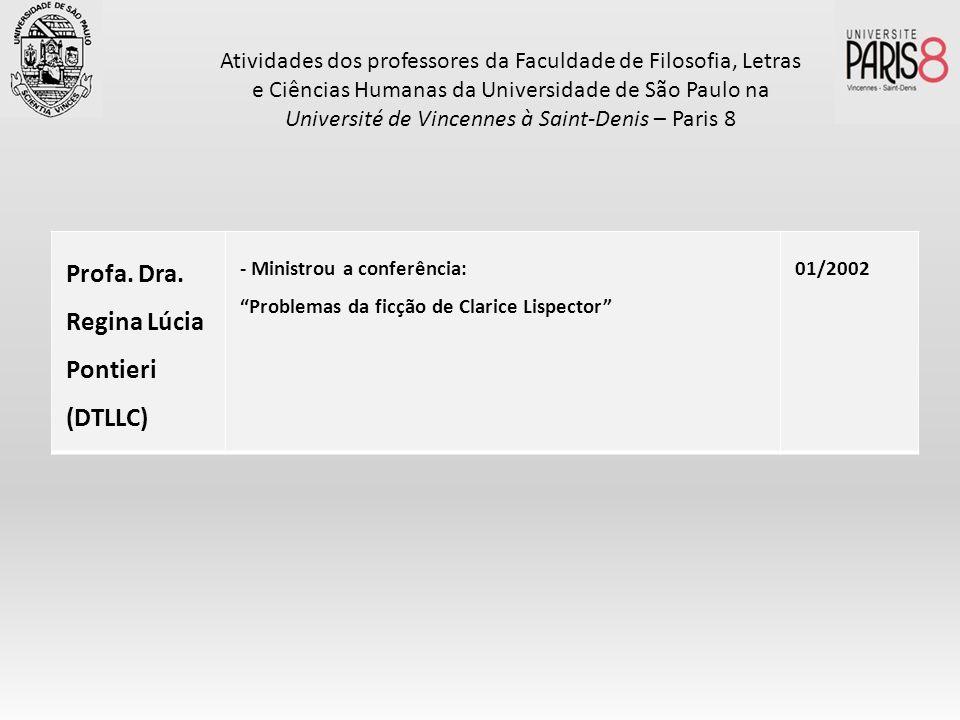 Profa. Dra. Regina Lúcia Pontieri (DTLLC) - Ministrou a conferência: Problemas da ficção de Clarice Lispector 01/2002 Atividades dos professores da Fa