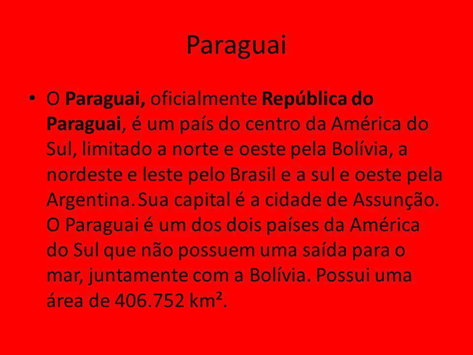 Paraguai O Paraguai, oficialmente República do Paraguai, é um país do centro da América do Sul, limitado a norte e oeste pela Bolívia, a nordeste e leste pelo Brasil e a sul e oeste pela Argentina.