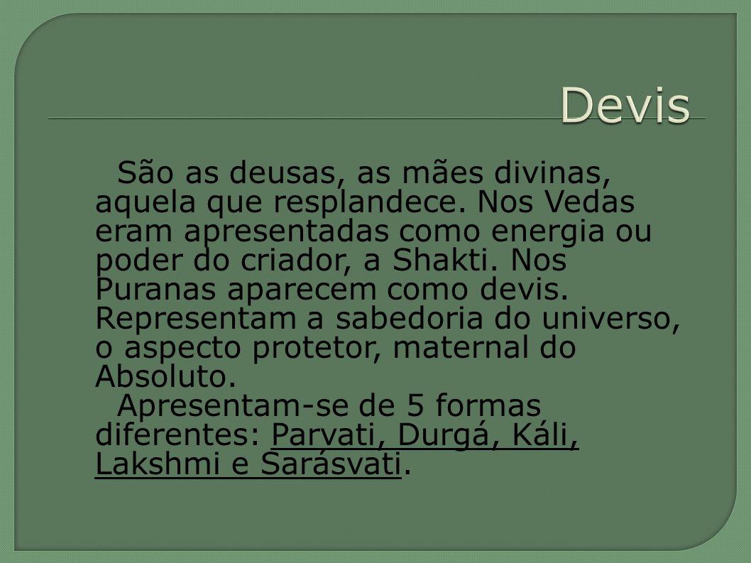 São as deusas, as mães divinas, aquela que resplandece. Nos Vedas eram apresentadas como energia ou poder do criador, a Shakti. Nos Puranas aparecem c