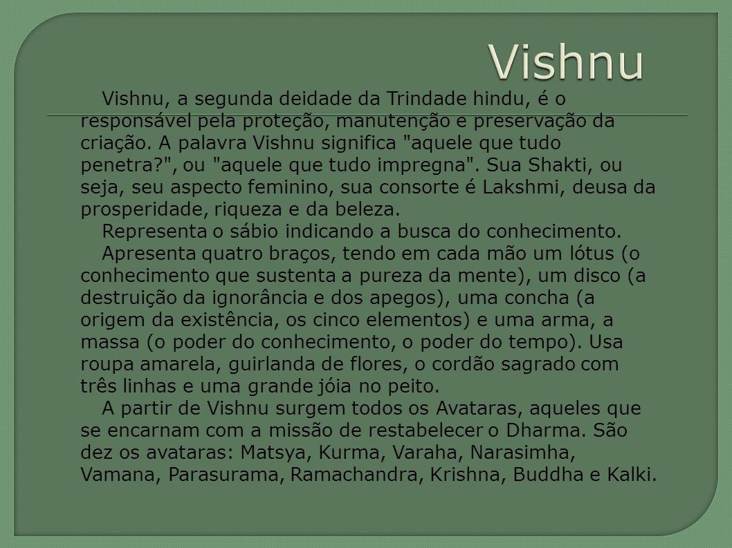 Vishnu, a segunda deidade da Trindade hindu, é o responsável pela proteção, manutenção e preservação da criação.