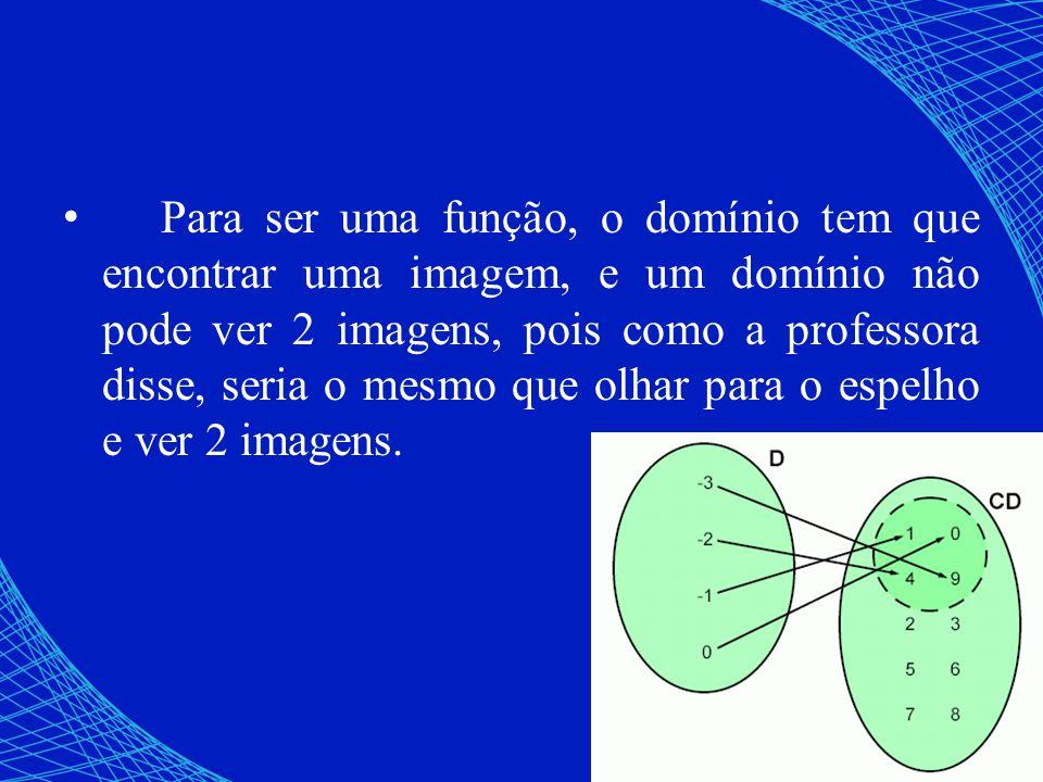 Para ser uma função, o domínio tem que encontrar uma imagem, e um domínio não pode ver 2 imagens, pois como a professora disse, seria o mesmo que olha