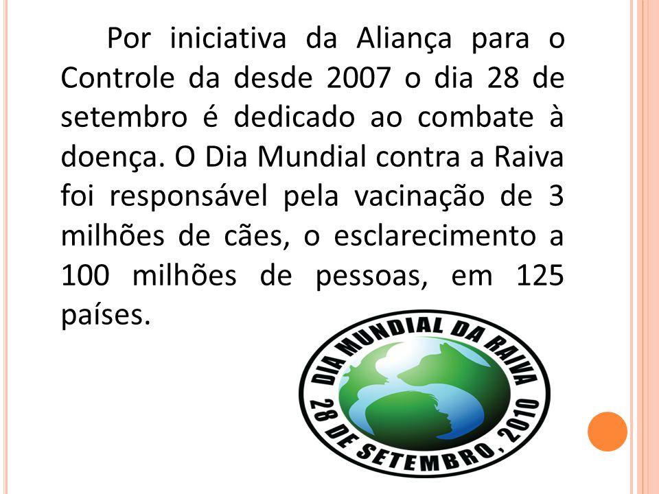 Por iniciativa da Aliança para o Controle da desde 2007 o dia 28 de setembro é dedicado ao combate à doença. O Dia Mundial contra a Raiva foi responsá