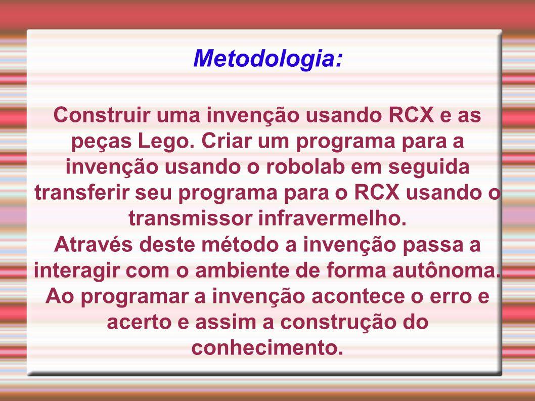Metodologia: Construir uma invenção usando RCX e as peças Lego. Criar um programa para a invenção usando o robolab em seguida transferir seu programa