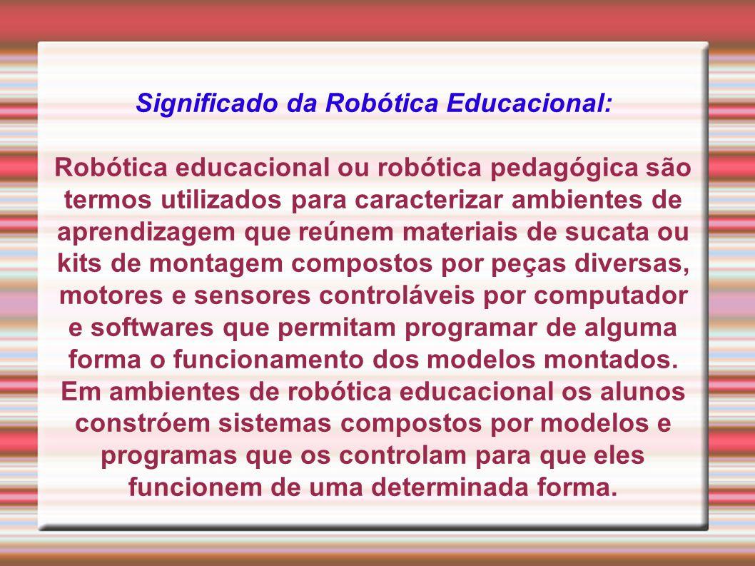 Significado da Robótica Educacional: Robótica educacional ou robótica pedagógica são termos utilizados para caracterizar ambientes de aprendizagem que