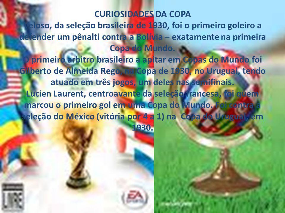 CURIOSIDADES DA COPA Veloso, da seleção brasileira de 1930, foi o primeiro goleiro a defender um pênalti contra a Bolívia – exatamente na primeira Copa do Mundo.