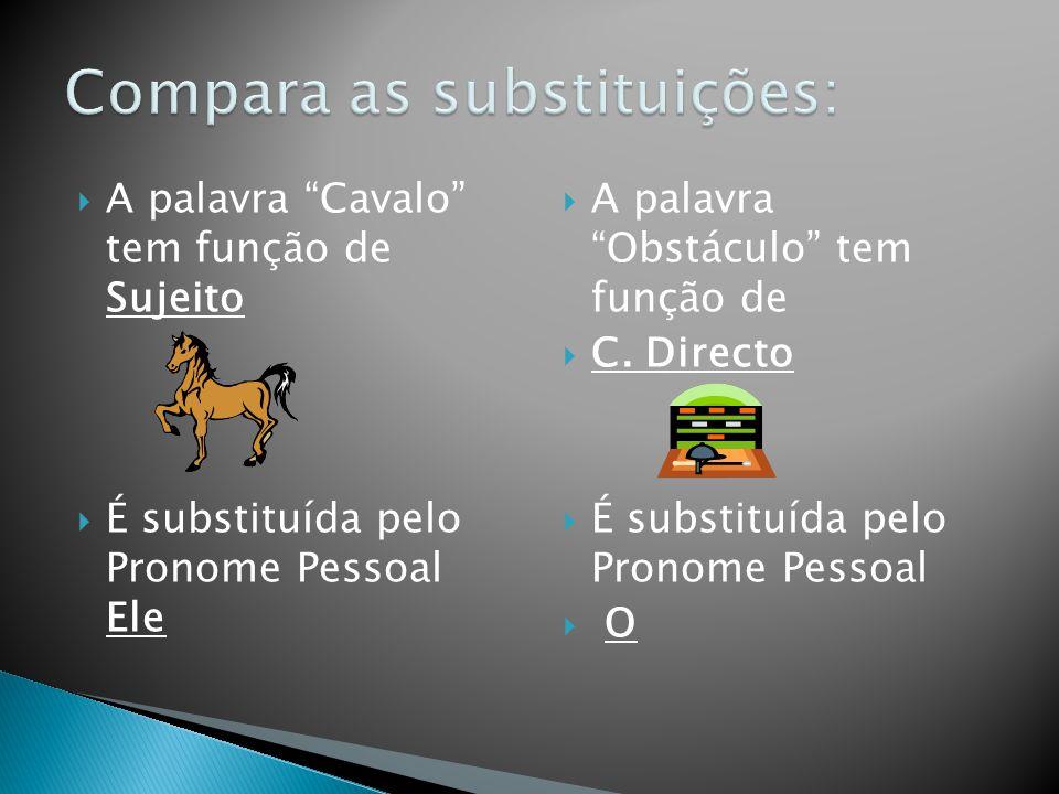 A palavra Cavalo tem função de Sujeito É substituída pelo Pronome Pessoal Ele A palavra Obstáculo tem função de C. Directo É substituída pelo Pronome