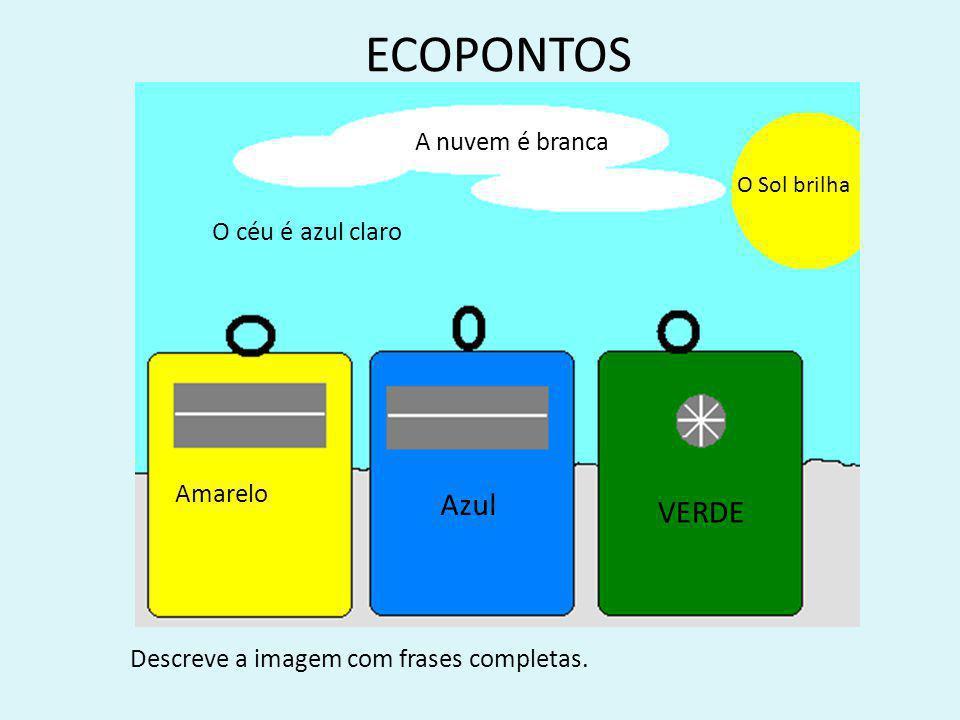 ECOPONTOS Amarelo Azul VERDE Descreve a imagem com frases completas.