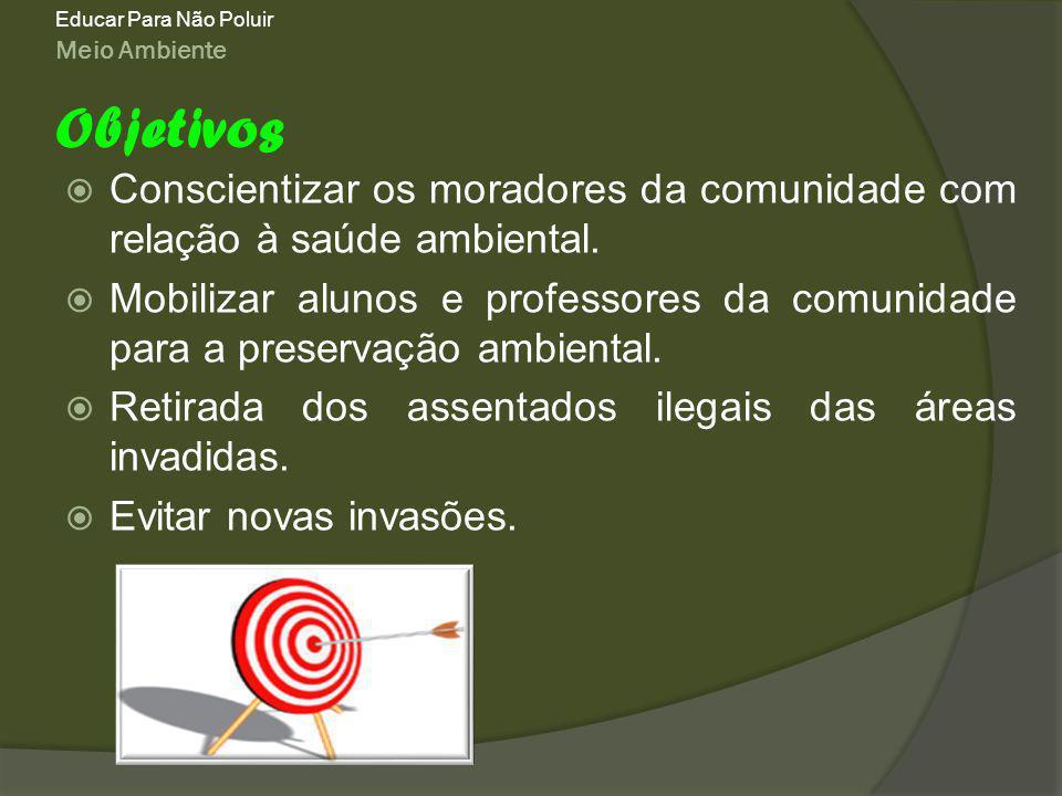 Meio Ambiente Educar Para Não Poluir Conscientizar os moradores da comunidade com relação à saúde ambiental.