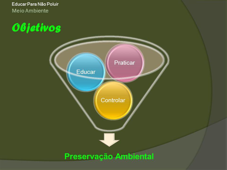 Meio Ambiente Educar Para Não Poluir Objetivos Preservação Ambiental ControlarEducarPraticar