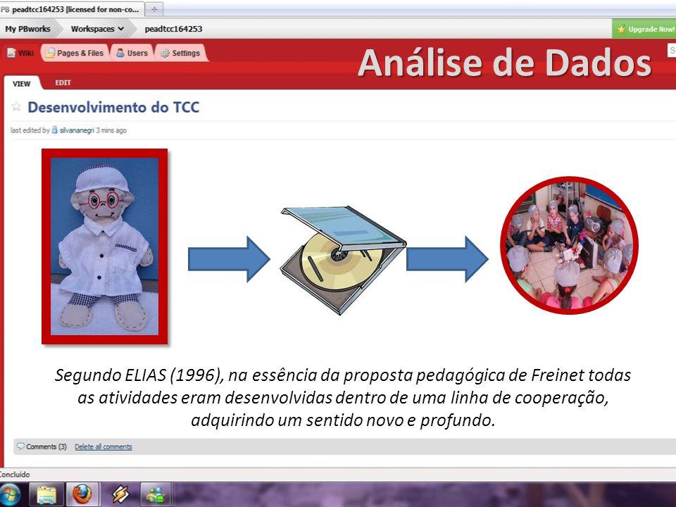Análise de Dados Segundo ELIAS (1996), na essência da proposta pedagógica de Freinet todas as atividades eram desenvolvidas dentro de uma linha de coo