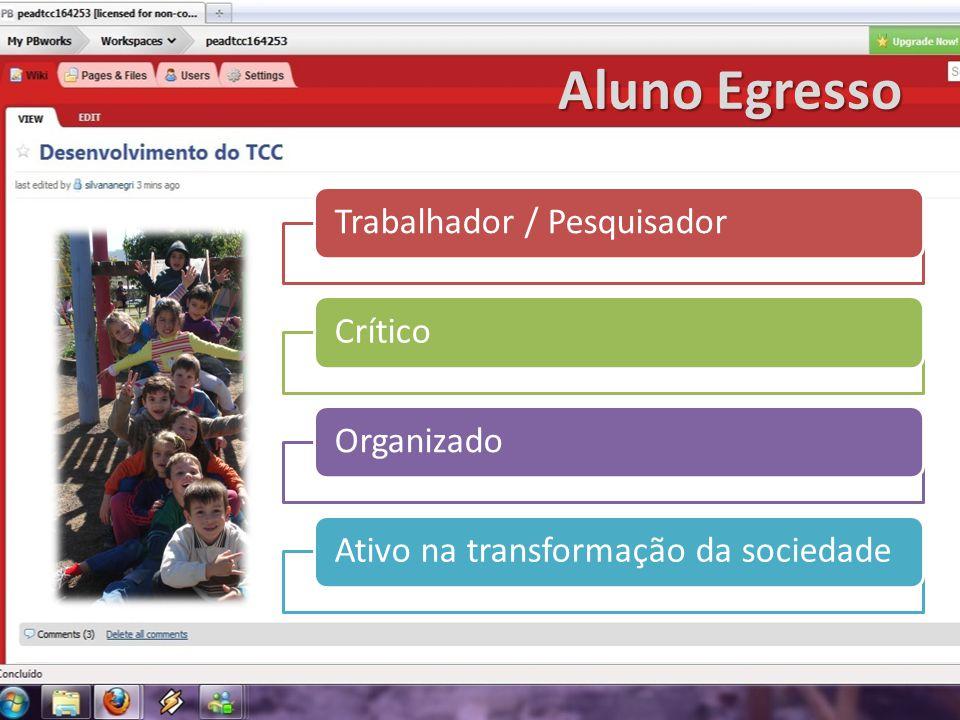 Aluno Egresso Trabalhador / PesquisadorCríticoOrganizadoAtivo na transformação da sociedade