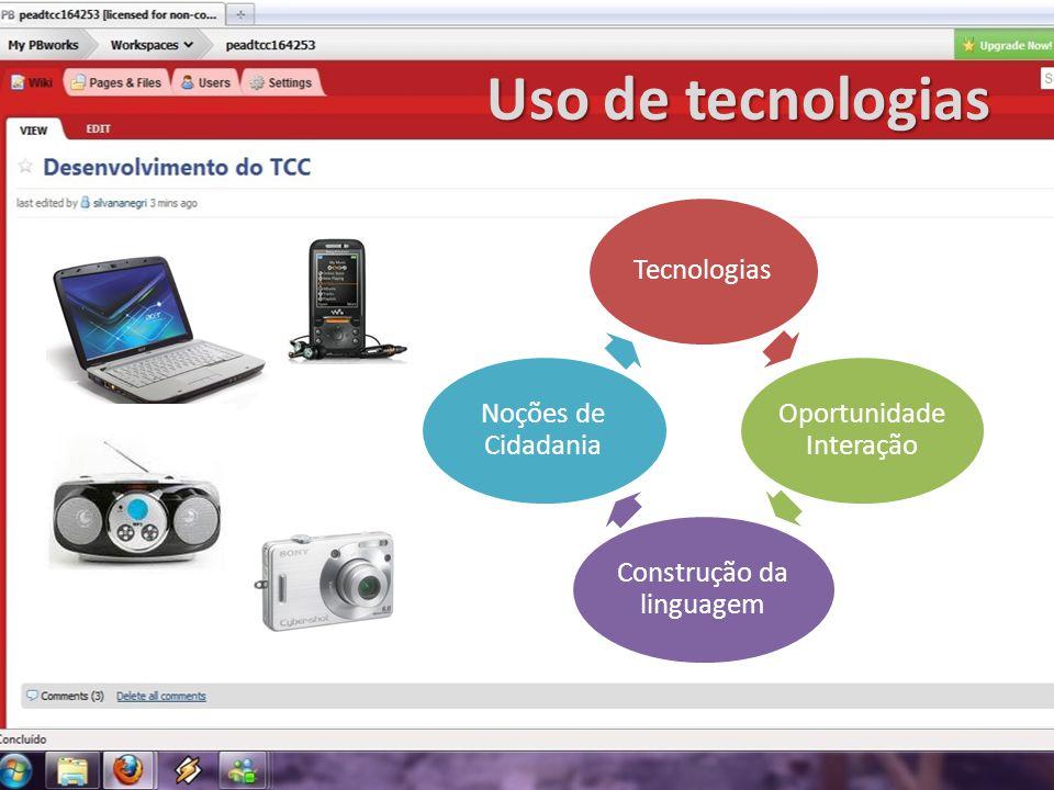 Uso de tecnologias Tecnologias Oportunidade Interação Construção da linguagem Noções de Cidadania