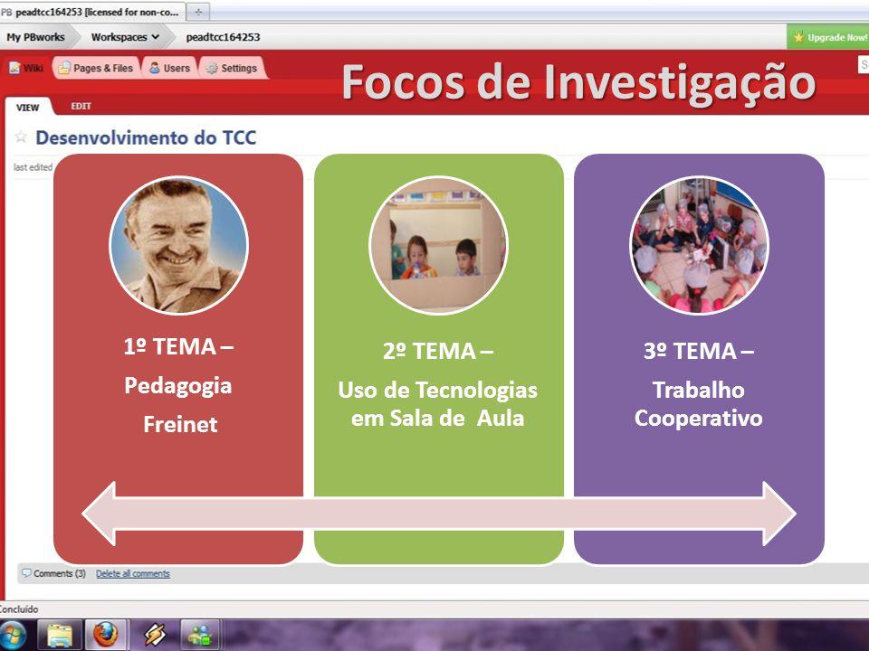 Focos de Investigação 1º TEMA – Pedagogia Freinet 2º TEMA – Uso de Tecnologias em Sala de Aula 3º TEMA – Trabalho Cooperativo