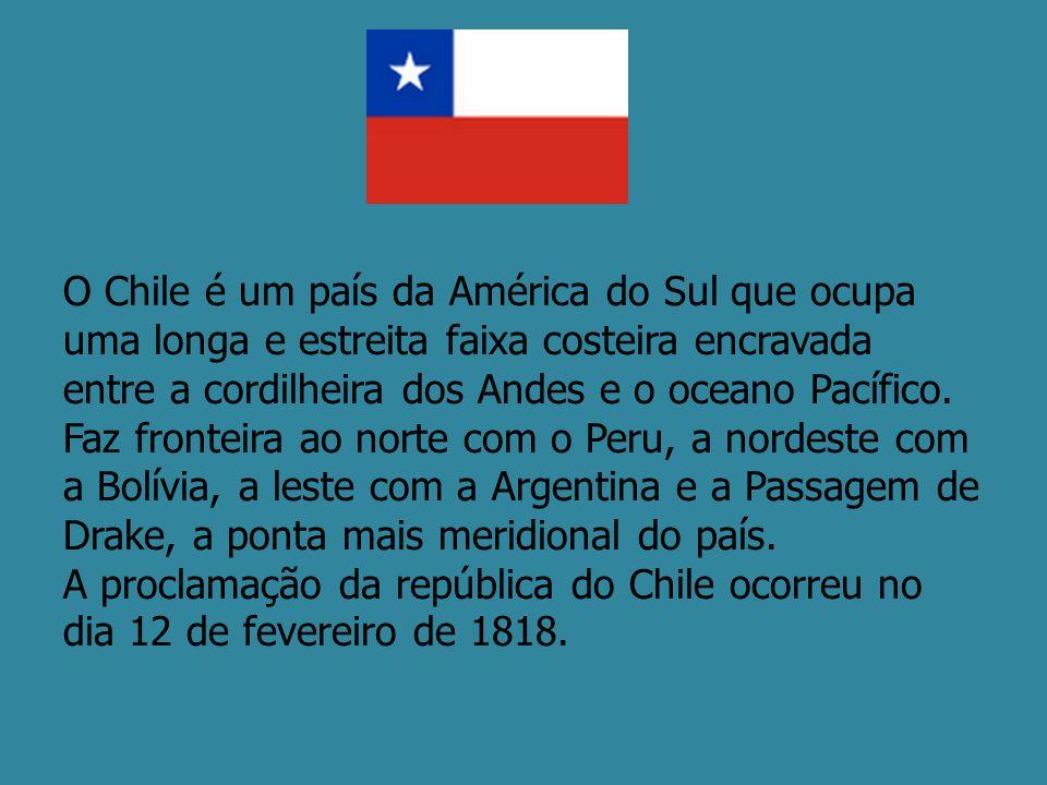 O Chile é um país da América do Sul que ocupa uma longa e estreita faixa costeira encravada entre a cordilheira dos Andes e o oceano Pacífico. Faz fro