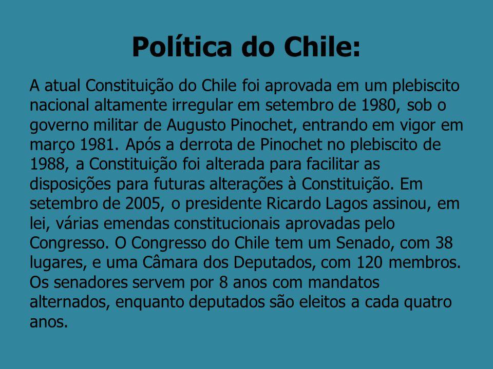 Política do Chile: A atual Constituição do Chile foi aprovada em um plebiscito nacional altamente irregular em setembro de 1980, sob o governo militar