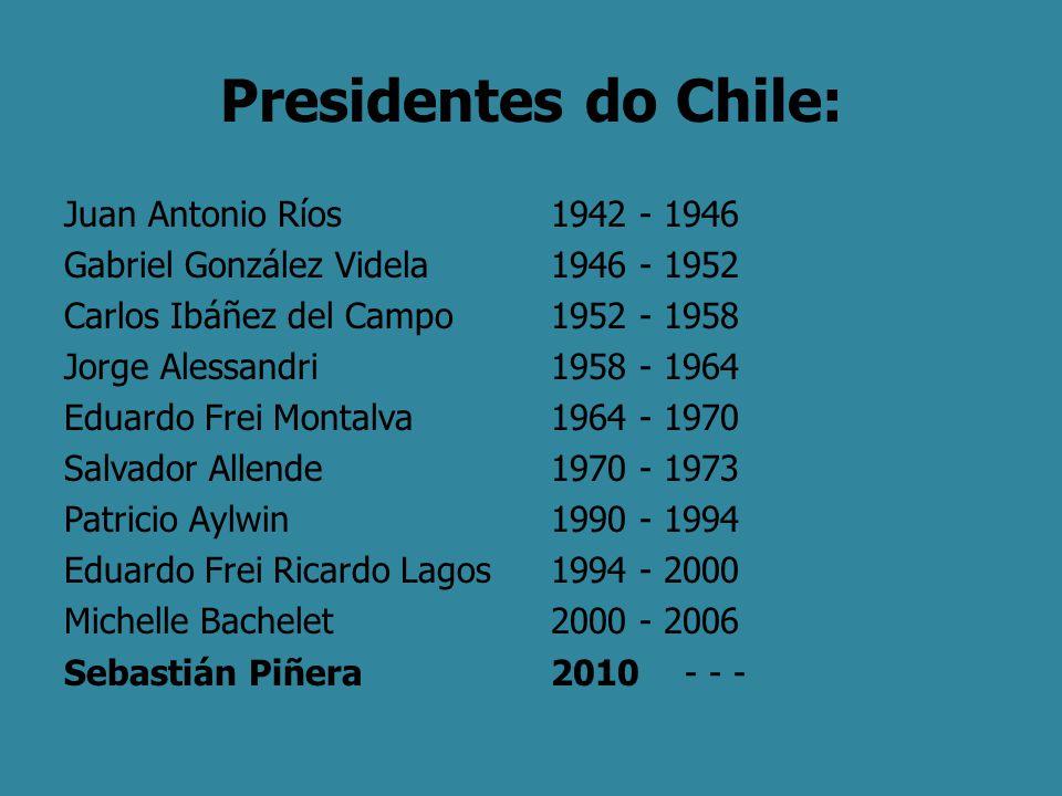 Presidentes do Chile: Juan Antonio Ríos Gabriel González Videla Carlos Ibáñez del Campo Jorge Alessandri Eduardo Frei Montalva Salvador Allende Patric