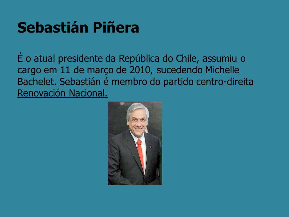 Sebastián Piñera É o atual presidente da República do Chile, assumiu o cargo em 11 de março de 2010, sucedendo Michelle Bachelet. Sebastián é membro d