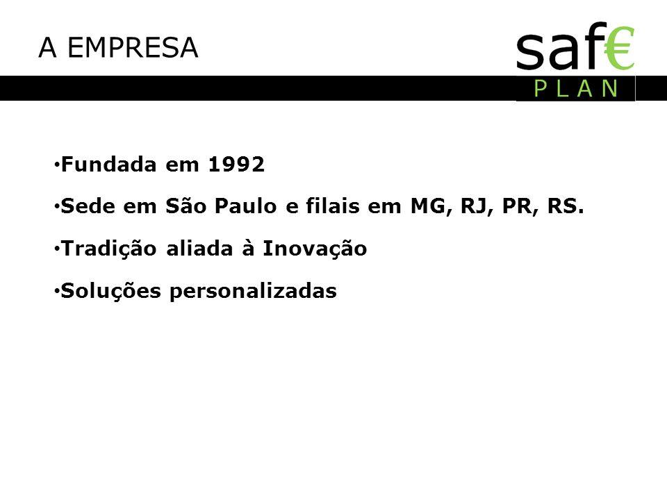 A EMPRESA Fundada em 1992 Sede em São Paulo e filais em MG, RJ, PR, RS. Tradição aliada à Inovação Soluções personalizadas