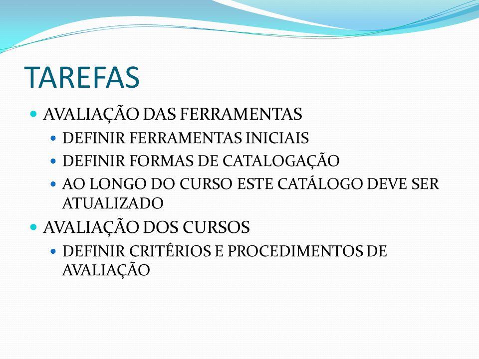 TAREFAS AVALIAÇÃO DAS FERRAMENTAS DEFINIR FERRAMENTAS INICIAIS DEFINIR FORMAS DE CATALOGAÇÃO AO LONGO DO CURSO ESTE CATÁLOGO DEVE SER ATUALIZADO AVALI