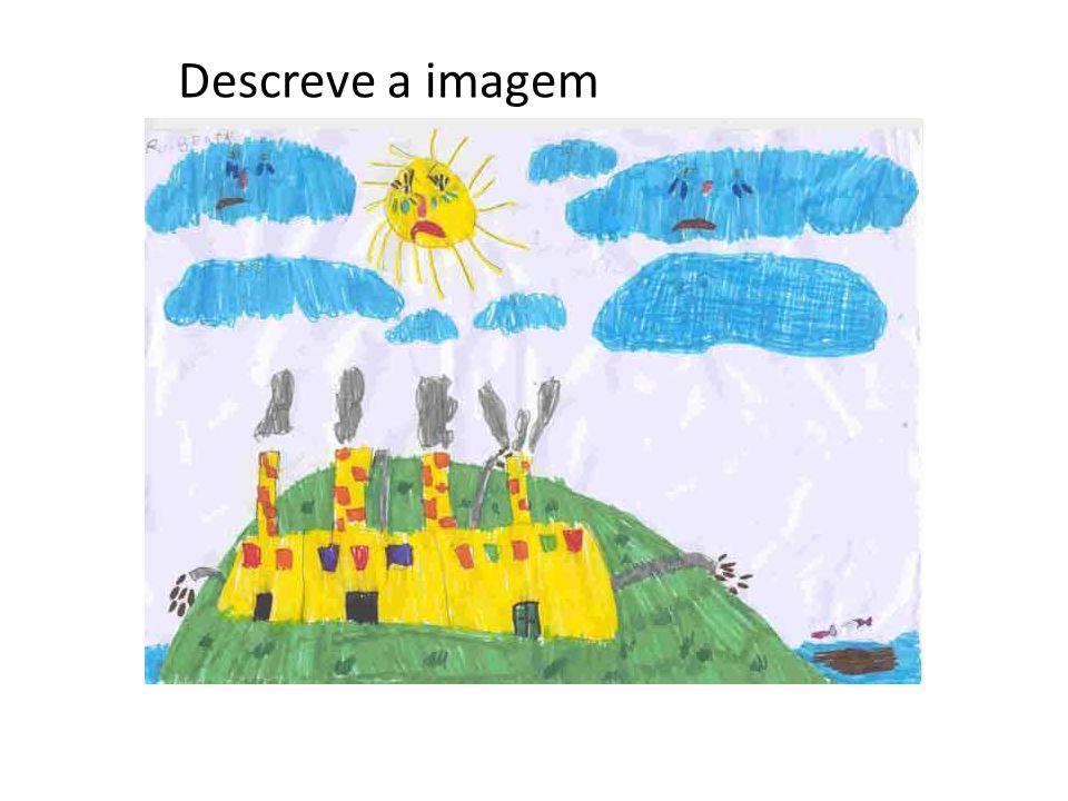 Amarelo Azul VERDE Descreve a imagem com frases completas. O céu é azul claro. A nuvem é branca.O Sol brilha.