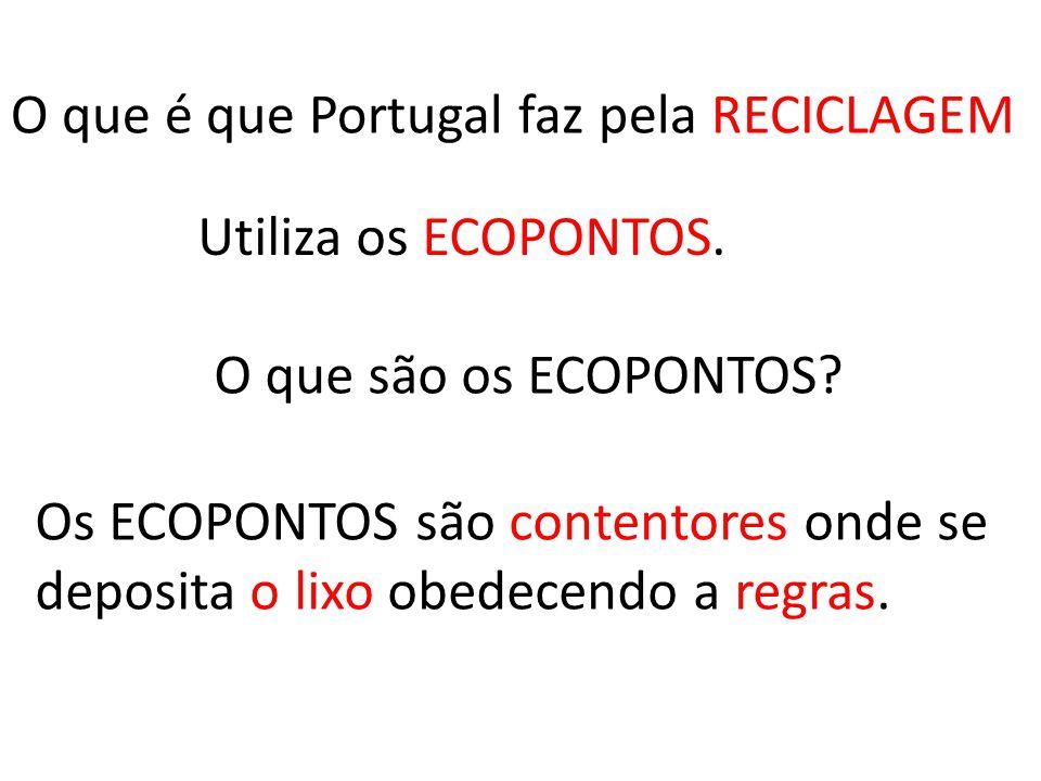 O que é isto? Isso é o mapa de Portugal Isso é a bandeira de Portugal Isso é o símbolo da Reciclagem