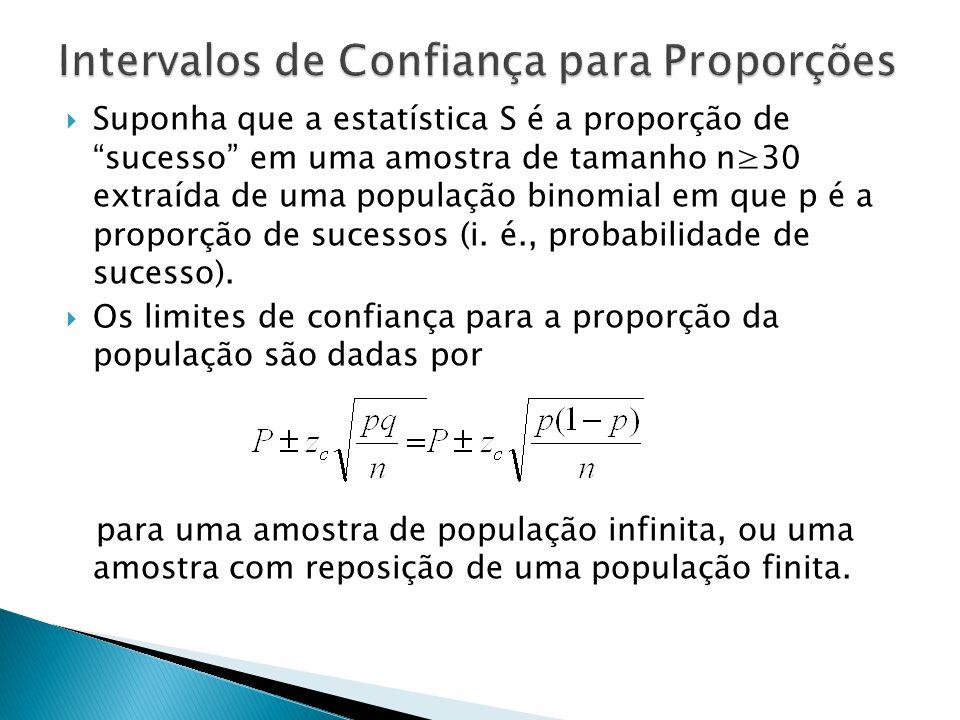 Suponha que a estatística S é a proporção de sucesso em uma amostra de tamanho n30 extraída de uma população binomial em que p é a proporção de sucessos (i.