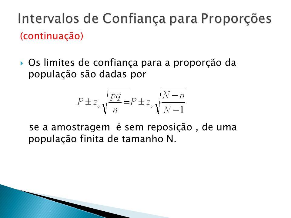 (continuação) Os limites de confiança para a proporção da população são dadas por se a amostragem é sem reposição, de uma população finita de tamanho N.