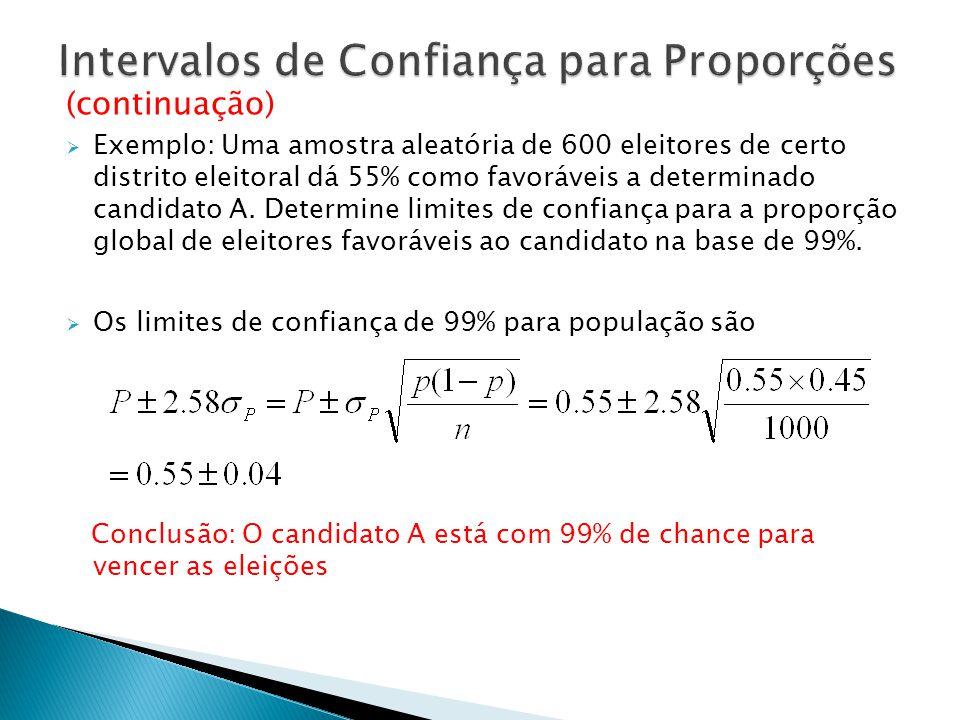 (continuação) Exemplo: Uma amostra aleatória de 600 eleitores de certo distrito eleitoral dá 55% como favoráveis a determinado candidato A. Determine
