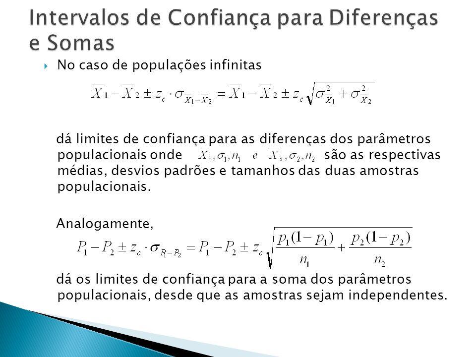 No caso de populações infinitas dá limites de confiança para as diferenças dos parâmetros populacionais onde são as respectivas médias, desvios padrões e tamanhos das duas amostras populacionais.