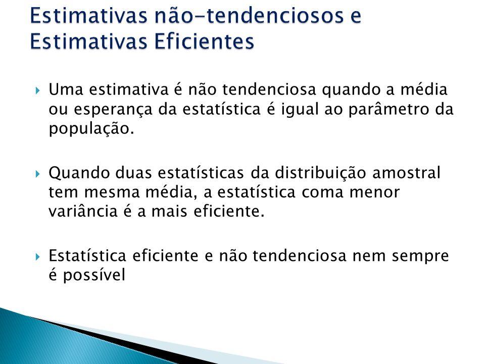 Uma estimativa é não tendenciosa quando a média ou esperança da estatística é igual ao parâmetro da população.