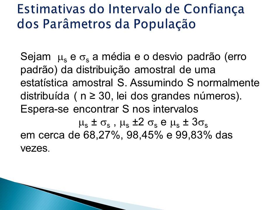 Sejam s e s a média e o desvio padrão (erro padrão) da distribuição amostral de uma estatística amostral S. Assumindo S normalmente distribuída ( n 30
