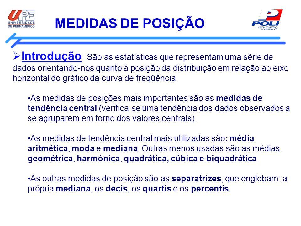 MEDIDAS DE POSIÇÃO Introdução São as estatísticas que representam uma série de dados orientando-nos quanto à posição da distribuição em relação ao eix