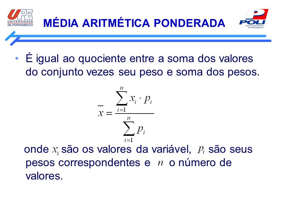 MÉDIA ARITMÉTICA PONDERADA É igual ao quociente entre a soma dos valores do conjunto vezes seu peso e soma dos pesos. onde são os valores da variável,