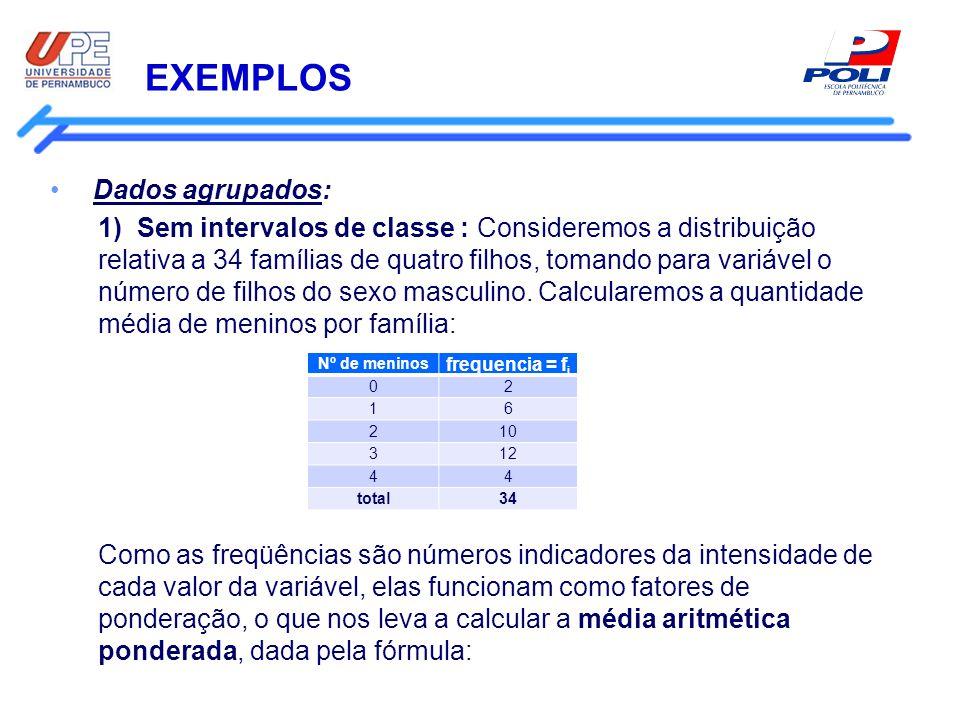 EXEMPLOS Dados agrupados: 1) Sem intervalos de classe : Consideremos a distribuição relativa a 34 famílias de quatro filhos, tomando para variável o n