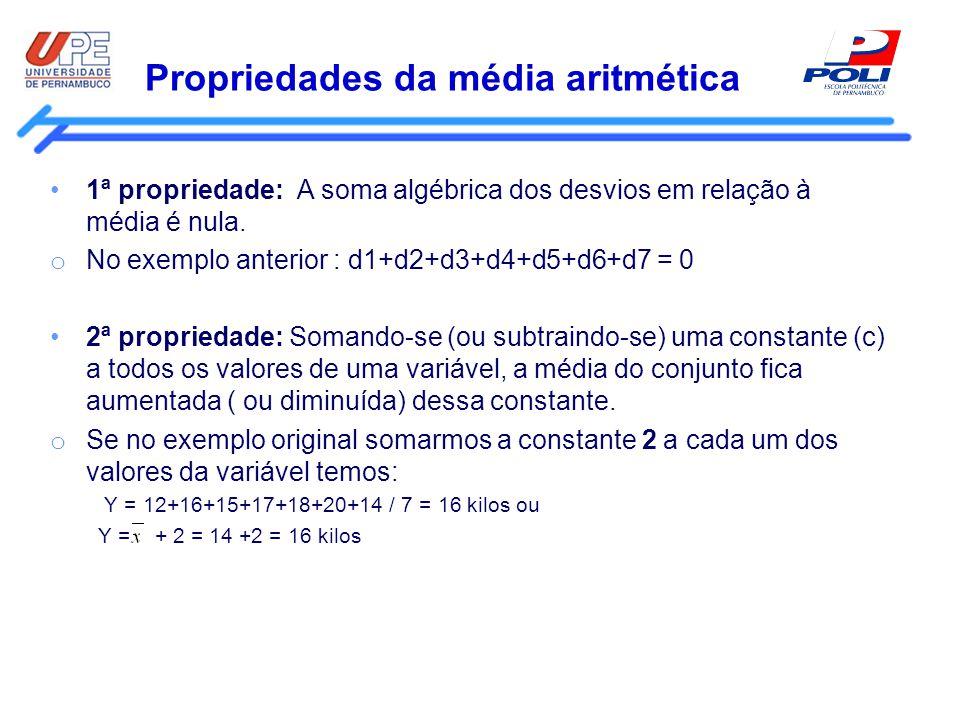 Propriedades da média aritmética 1ª propriedade: A soma algébrica dos desvios em relação à média é nula. o No exemplo anterior : d1+d2+d3+d4+d5+d6+d7