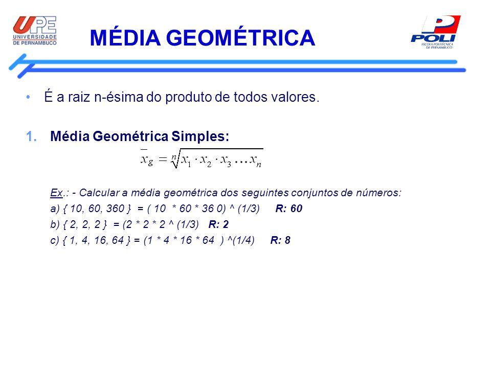 MÉDIA GEOMÉTRICA É a raiz n-ésima do produto de todos valores. 1.Média Geométrica Simples: Ex.: - Calcular a média geométrica dos seguintes conjuntos