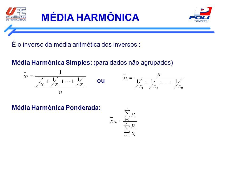 MÉDIA HARMÔNICA É o inverso da média aritmética dos inversos : Média Harmônica Simples: (para dados não agrupados) ou Média Harmônica Ponderada: