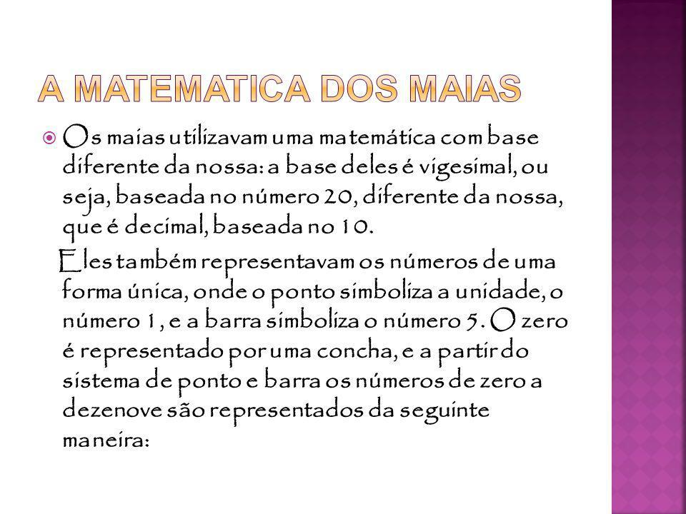 Os maias utilizavam uma matemática com base diferente da nossa: a base deles é vigesimal, ou seja, baseada no número 20, diferente da nossa, que é decimal, baseada no 10.