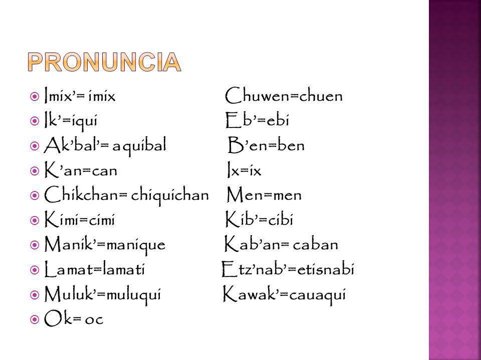 Imix= imix Chuwen=chuen Ik=iqui Eb=ebi Akbal= aquibal Ben=ben Kan=can Ix=ix Chikchan= chiquichan Men=men Kimi=cimi Kib=cibi Manik=manique Kaban= caban Lamat=lamati Etznab=etisnabi Muluk=muluqui Kawak=cauaqui Ok= oc