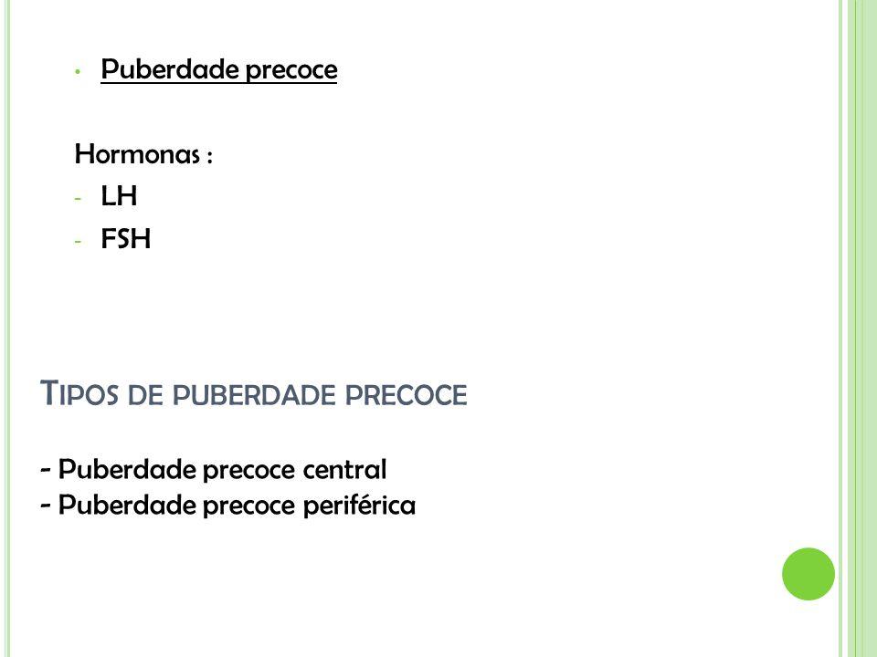 T IPOS DE PUBERDADE PRECOCE Puberdade precoce Hormonas : - LH - FSH - Puberdade precoce central - Puberdade precoce periférica