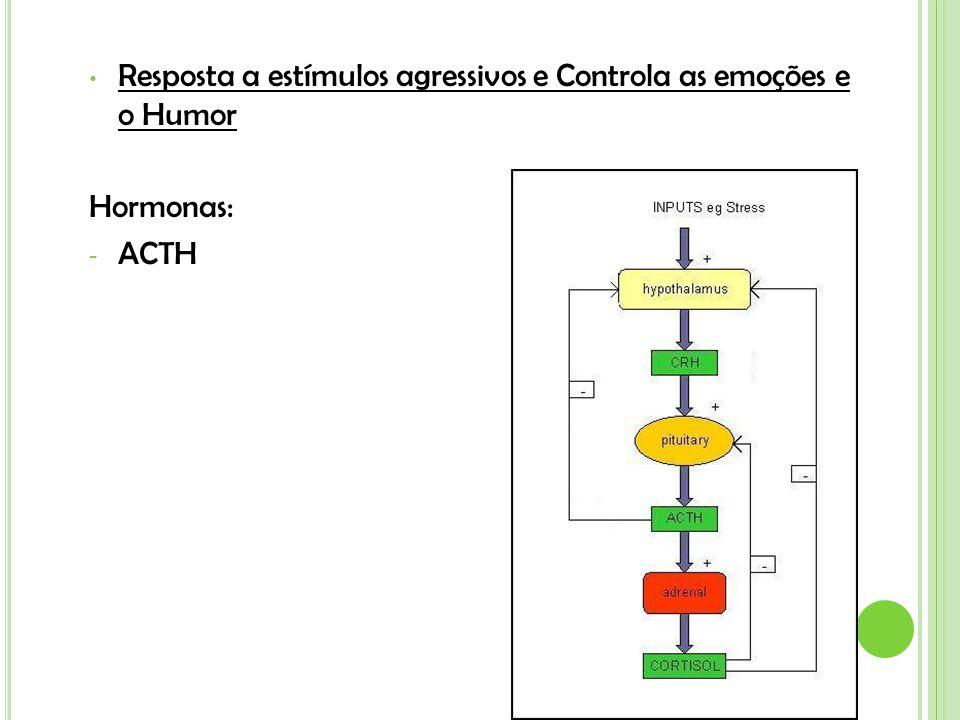 Resposta a estímulos agressivos e Controla as emoções e o Humor Hormonas: - ACTH