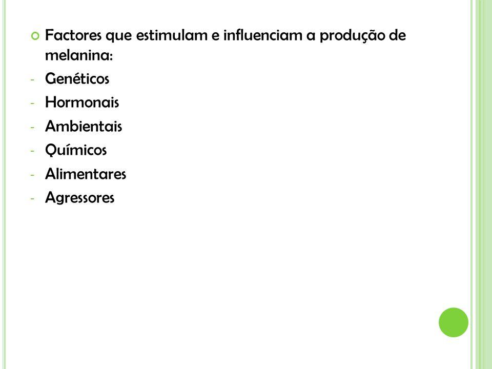 Factores que estimulam e influenciam a produção de melanina: - Genéticos - Hormonais - Ambientais - Químicos - Alimentares - Agressores