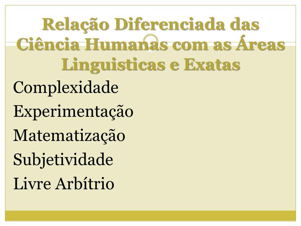 Relação Diferenciada das Ciência Humanas com as Áreas Linguisticas e Exatas Complexidade Experimentação Matematização Subjetividade Livre Arbítrio