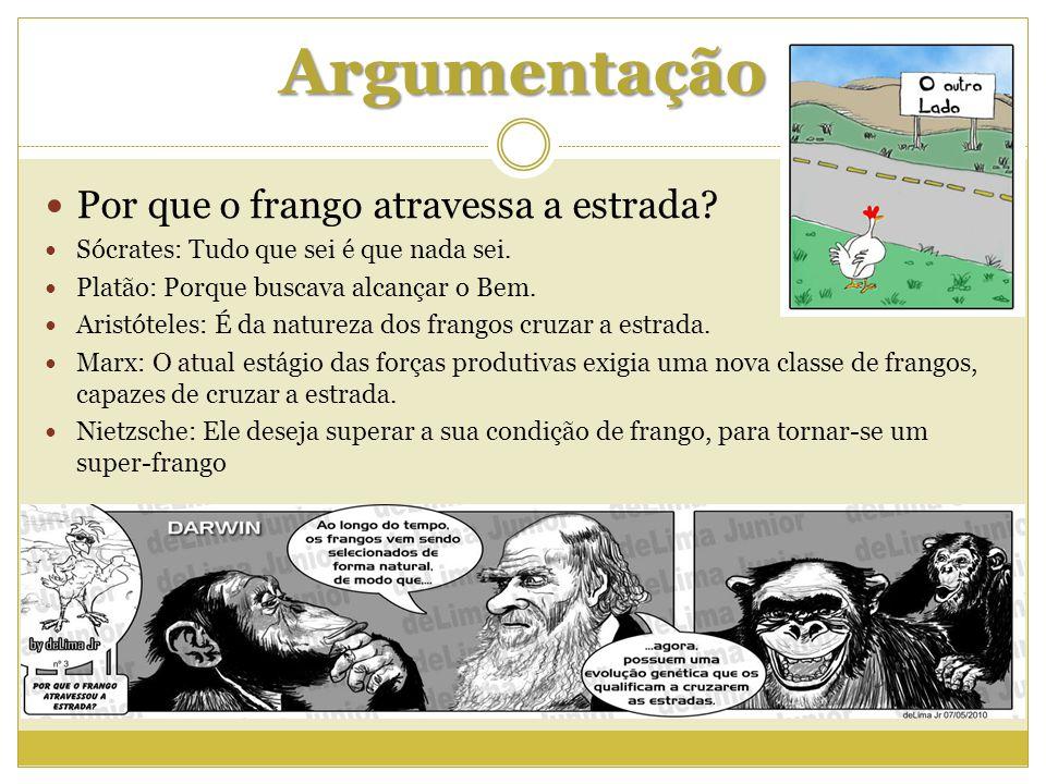 Argumentação Por que o frango atravessa a estrada? Sócrates: Tudo que sei é que nada sei. Platão: Porque buscava alcançar o Bem. Aristóteles: É da nat
