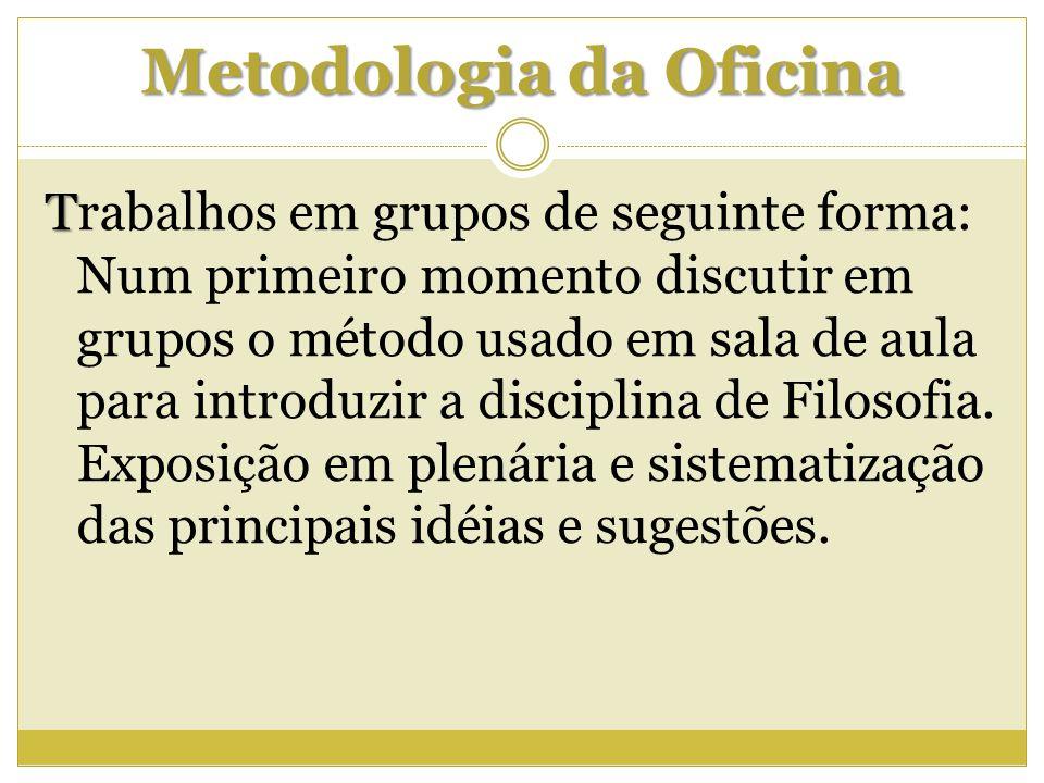 Metodologia da Oficina T Trabalhos em grupos de seguinte forma: Num primeiro momento discutir em grupos o método usado em sala de aula para introduzir
