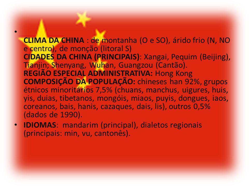CLIMA DA CHINA : de montanha (O e SO), árido frio (N, NO e centro), de monção (litoral S) CIDADES DA CHINA (PRINCIPAIS): Xangai, Pequim (Beijing), Tia