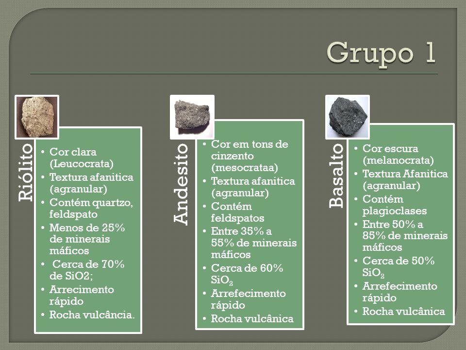 Riólito Cor clara (Leucocrata) Textura afanitica (agranular) Contém quartzo, feldspato Menos de 25% de minerais máficos Cerca de 70% de SiO2; Arrecime