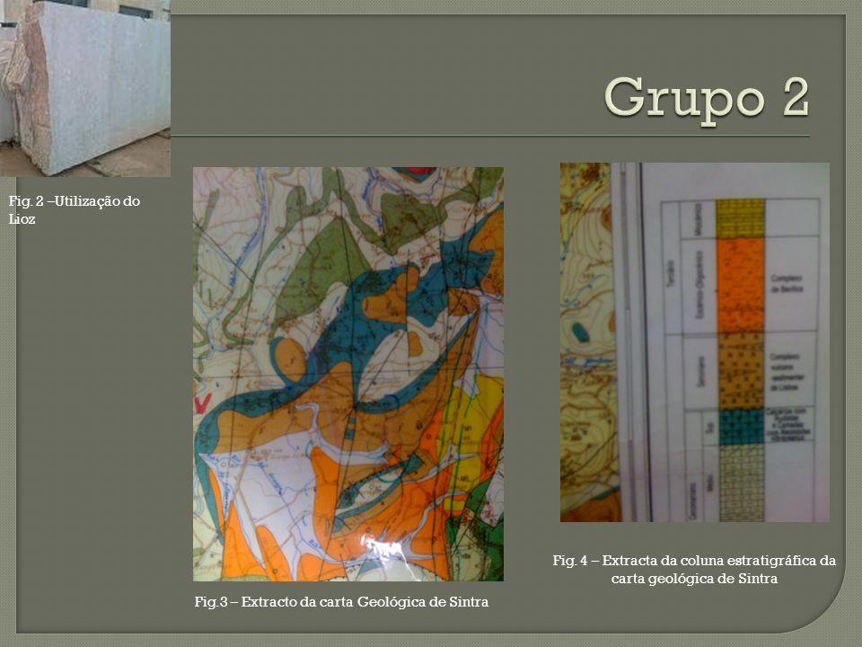 Fig. 4 – Extracta da coluna estratigráfica da carta geológica de Sintra Fig.3 – Extracto da carta Geológica de Sintra Fig. 2 –Utilização do Lioz